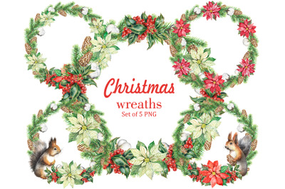 Christmas wreaths watercolor set Holiday wreaths. New year Holiday