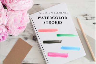 Watercolor Brush Strokes, Banner Strokes