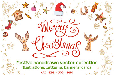Christmas set with festive handdrawn elements.
