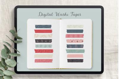 Digital Floral Washi Tapes