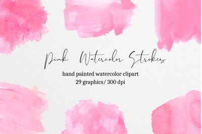 Pink Watercolor splash clipart, Pink watercolor brush strokes