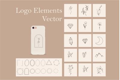 Floral logo elements-SVG frames-Vector illustrations - Branding Kit