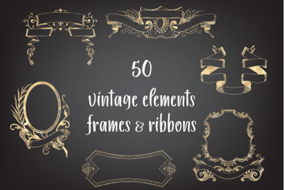 Vintage Decorative Frames and Ribbons,