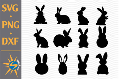 Easter Bunny Silhouette SVG, PNG, DXF Digital Files Include