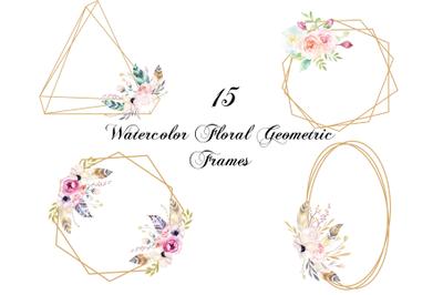 Watercolor Geometric Frames, Floral Rustic Wedding Decorative Frames