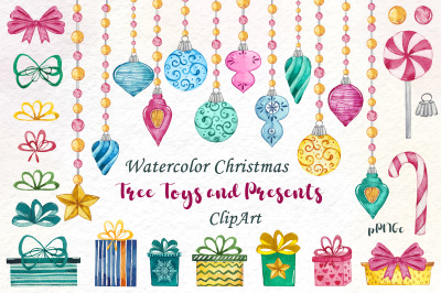 Watercolor Christmas tree toys and presents clipart