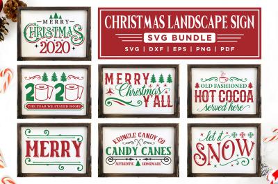 Christmas Sign SVG Bundle, 12 Christmas Landscape Sign SVG