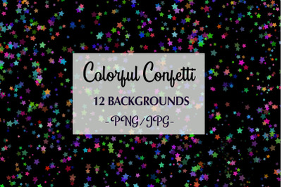 12 Colorful Confetti Backgrounds png, jpg