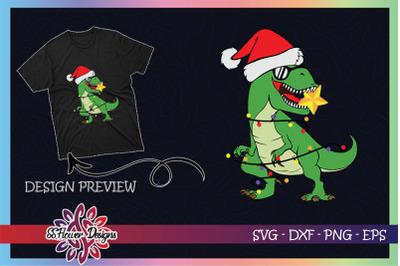 Funny T-rex Christmas Light Santa hat
