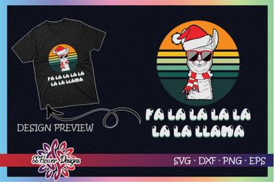 Fa la la Llama Christmas Vintage design