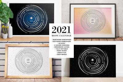 Moon Calendar 2021 Rounded