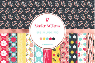 12 Vivid Flowers, Leaves and Doodles - Vector Seamless Patterns