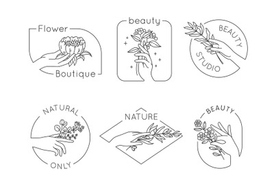 Line hand and flower logos. Floral beauty salon, spa and cosmetics log