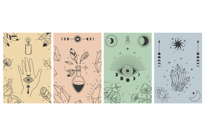 Mystical boho posters. Esoteric line prints with astrology symbols, cr