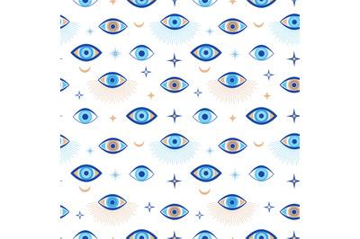 Evil eye seamless pattern. Magic talisman and occult symbol. Greek eth