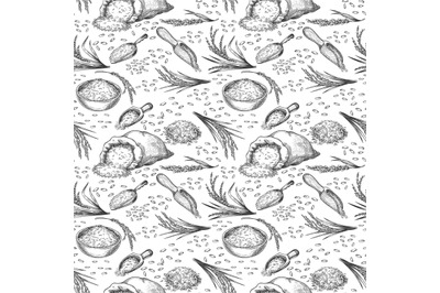 Sketch rice seamless pattern. Outline cereal ears, bag and bowl with g