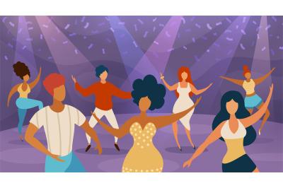 People dance floor. Happy women and men dancing on disco party. Cartoo