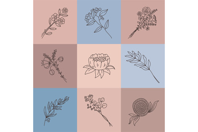 Minimalist line flowers. Simple poster with abstract meadow bouquet. E