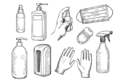 Sketch sanitizer bottle. Personal protective equipment. Medical mask,