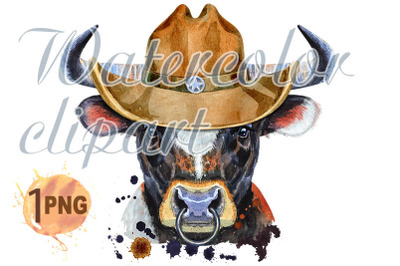 Watercolor illustration of black bull with white spot in a cowboy hat