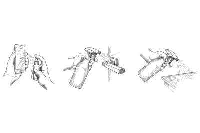 Surface cleaning sketch. Disinfect house surfaces and door handle with