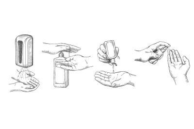 Sketch hands sanitizers. Person clean hand with alcohol gel, wall sani
