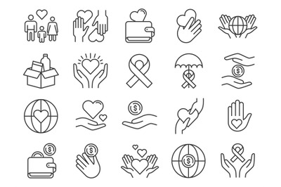 Charity and donation icon. Hands donating money and hearts. Community