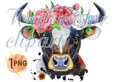 Watercolor illustration of black bull in peonies wreath