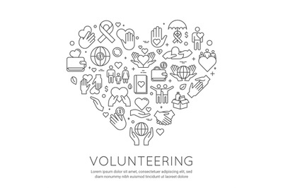 Volunteer line poster. Charity and donation banner, heart shaped icons