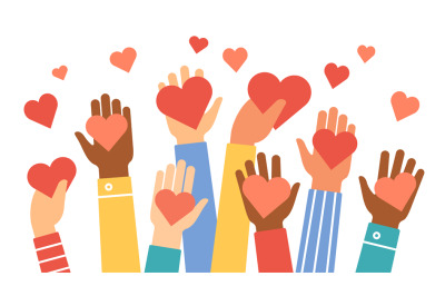Hands donate hearts. Charity, volunteer and community help symbol with