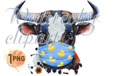 Watercolor illustration of black bull in protective mask