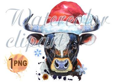 Watercolor illustration of black bull in Santa hat