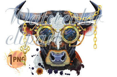 Watercolor illustration of black bull with steampunk glasses