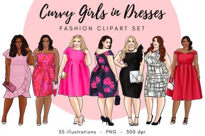 Curvy Girls in Dresses - Light Skin & Dark Skin clipart