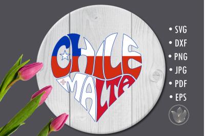 Chile Malta heart, Sublimation design