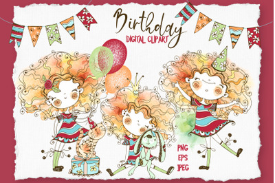 Happy birthday girl digital cliparts in Doodle style watercolor.
