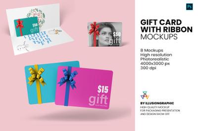 Gift Card with Ribbon Mockup - 8 Views