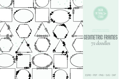 Geometric Frame | Hand Drawn Decorative Border Outline | Floral Wreath
