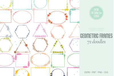Geometric Frame Color | Hand Drawn Decorative Border | Floral Wreath