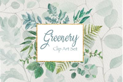 Greenery - Watercolor Clip Art Set