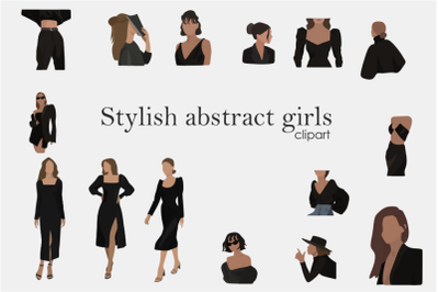 Stylish abstract girls-women in vector - boho clipart-modern portraits