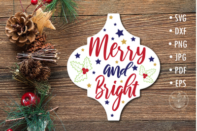 Arabesque Tile svg Merry and bright Christmas design