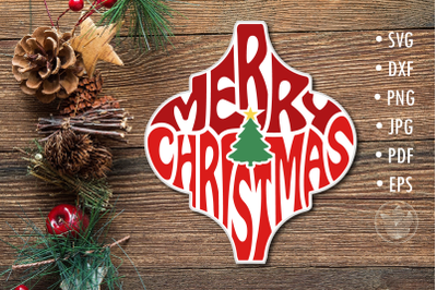 Arabesque Tile svg Merry Christmas lettering design
