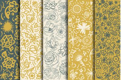 Doodle flower patterns