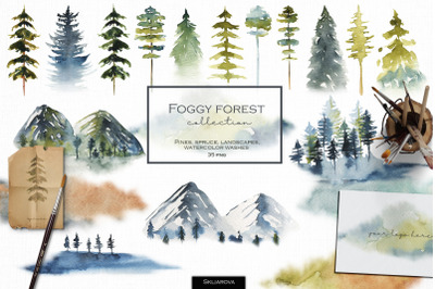 Foggy forest collection. Watercolor trees & landscapes.