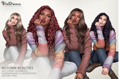 Autumn Girls Clipart, Fashion Clipart, Black Woman Clipart