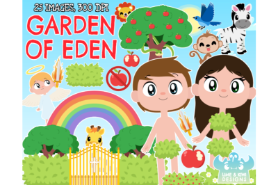 Garden of Eden/Adam and Eve Clipart - Lime and Kiwi Designs