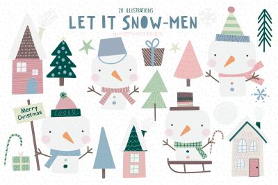Let it Snow-Men clipart set