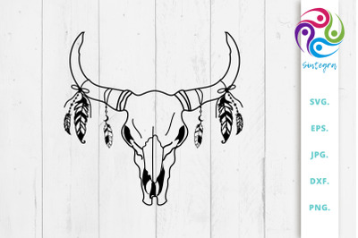 Cow Boho Skull With Feathers Svg File