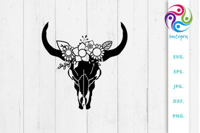 Cow Boho Skull With Flowers